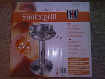 Säulengrill, Standgrill, Edelstahl, Pedestal Barbecue Grill, Neu & sofort