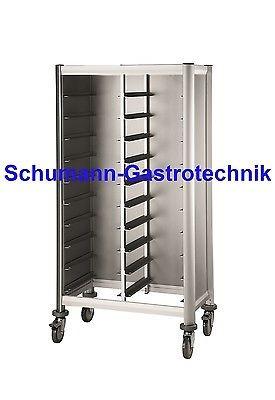Tablettwagen, Abräumwagen, Aluoptik, 2x10 Schienen für Tabletts 45,5 x 35,5 cm