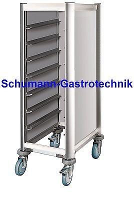 Tablettwagen, Abräumwagen, Aluoptik, GN 1/1, 7 Schienen inkl. 7 Tabletts grau