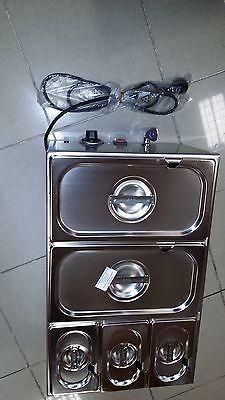 Wasserbad/Bain Marie, mit Ablaufhahn, mit 3x GN 1/9 + 2x GN 1/3 inkl. Deckel