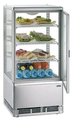 Kühlvitrine vierseitig Isolierglas 72 Liter