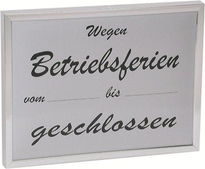 Hinweisschild Betriebsferien 24 x 18 cm