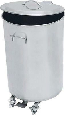Abfallbehälter, Abfalleimer Edelstahl 90 Liter mit Rollen