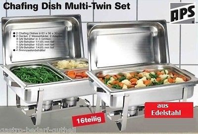 Chafing Dish Multi Set 16 Teilig, inkl. 1x 1/1 GN, 2x 1/2 GN, 3x 1/3 GN