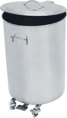 Abfallbehälter, Abfalleimer Edelstahl 65 Liter mit Rollen