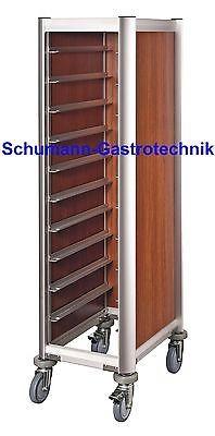 Tablettwagen, Abräumwagen, dunkle Holzoptik,10 Schienen, inkl. 10 Tabletts