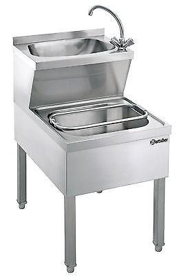 Handwaschbecken mit Ausgussbecken, 1 Mischbatterie, Siphon, Rost Bartscher