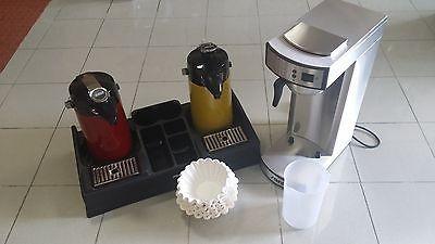 Gastro Kaffeemaschine mit 2 Pumpkannen Rot + Gelb + 1000 Filter + Kaffeestation